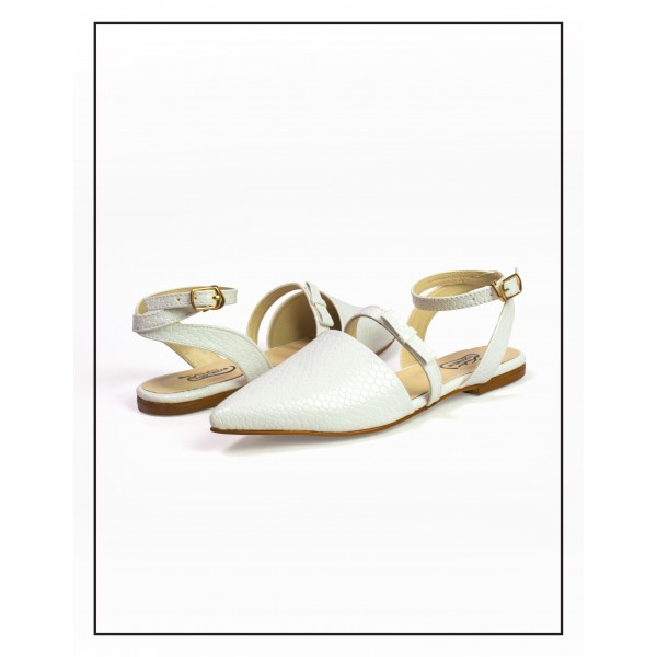 """Fenny"" White Flat Croc Style Sandals Wo..."