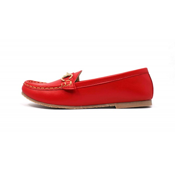 Appie Loafer Red With Buckle Upper Rubber Sole For Women By Studio Footwear