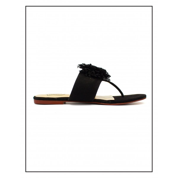 """PANSY"" BLACK TOE SLIPPERS WITH BUSHES UPPER FOR WOMEN BY STUDIO FOOTWEAR"