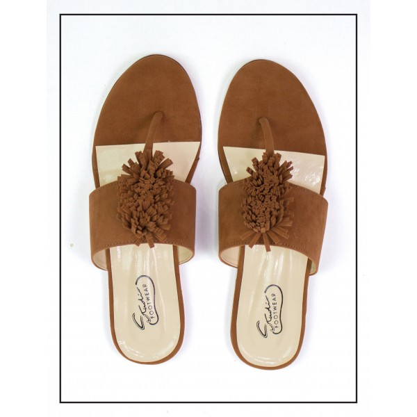"""PANSY"" BROWN TOE SLIPPERS WITH BUSHES UPPER FOR WOMEN BY STUDIO FOOTWEAR"