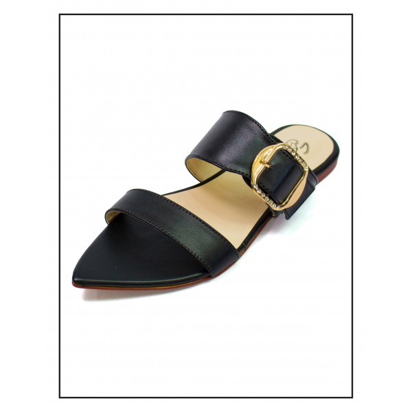 """Alexa"" BLACK POINTED SLIPPERS WITH BUCKLE FOR WOMEN BY STUDIO FOOTWEAR"