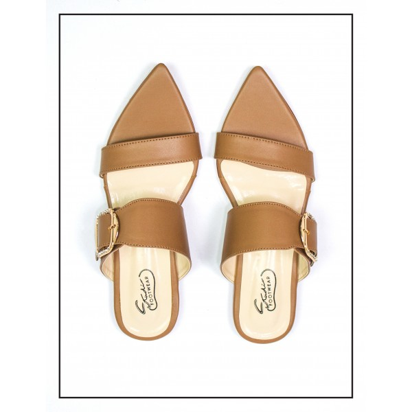 """""""Alexa"""" BROWN POINTED SLIPPERS WITH BUCKLE FOR WOMEN BY STUDIO FOOTWEAR"""