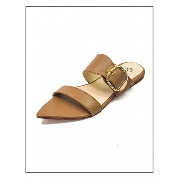 """Alexa"" BROWN POINTED SLIPPERS WITH BUCKLE FOR WOMEN BY STUDIO FOOTWEAR"