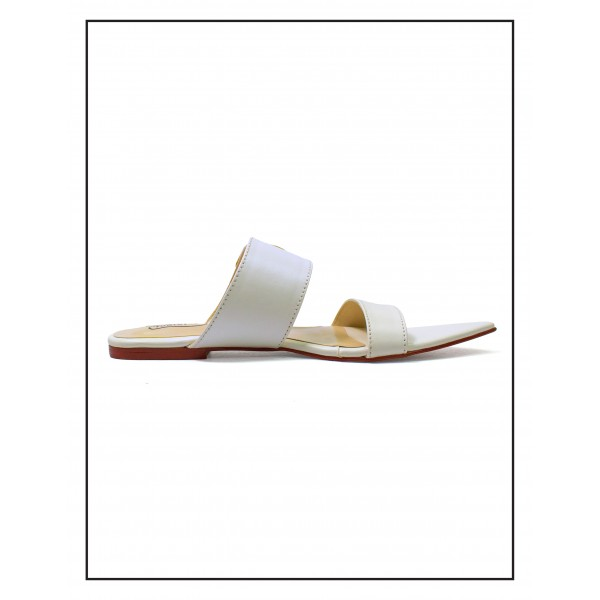 """Alexa"" WHITE POINTED SLIPPERS WITH BUCKLE FOR WOMEN BY STUDIO FOOTWEAR"