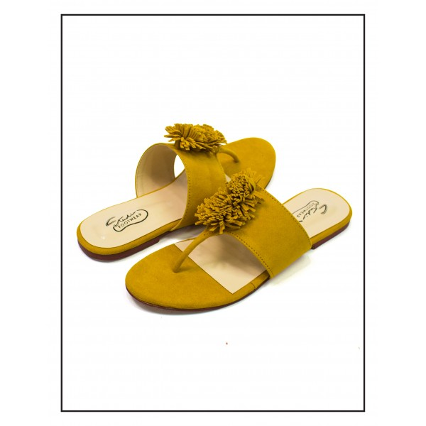 """PANSY"" MUSTARD TOE SLIPPERS WITH BUSHES..."