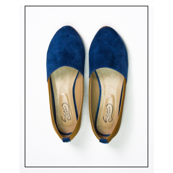 Pennt Velvet Loafer Blue With Brown Sides For Wome...