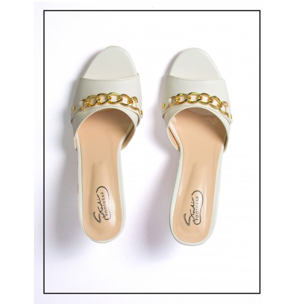 Remi (White) Heels With Chain Upper For Women By Studio Footwear