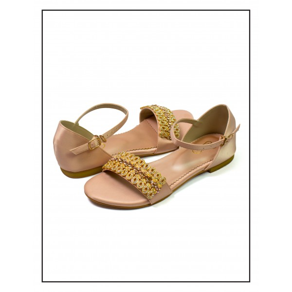"""Geet"" Peach Flat Sole With Festive Moti..."