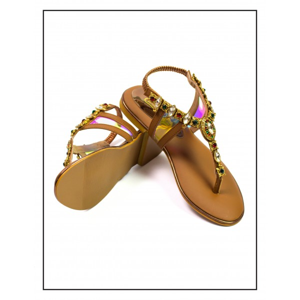 """UROOSH"" BROWN WOMEN COMFORTABLE SLIP WITH STYLISH CHAIN SANDALS BY STUDIO FOOTWEAR"