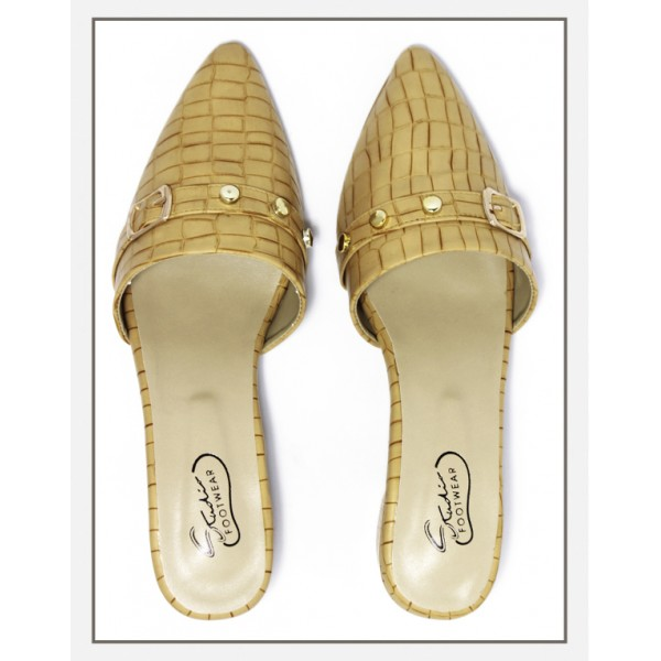 """KELIA"" Mustard Croc Textured Pointed To..."