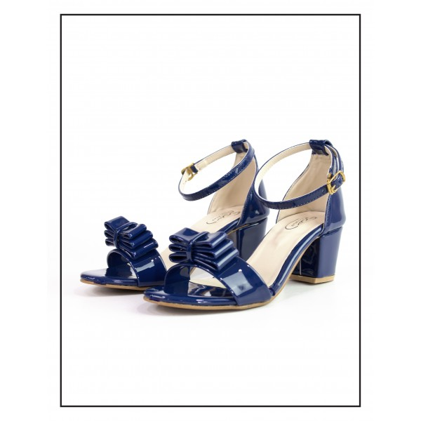 """ADINA"" Blue Heels With Bow Sandal"