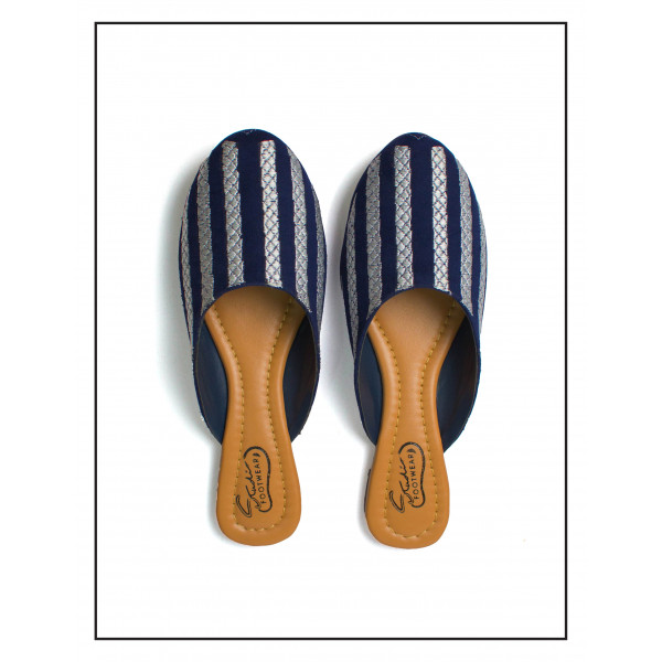 """""""ARIA"""" BLUE & SILVER FLAT MULES WITH SOFT LINNING UPPER FOR WOMEN BY STUDIO FOOTWEAR"""