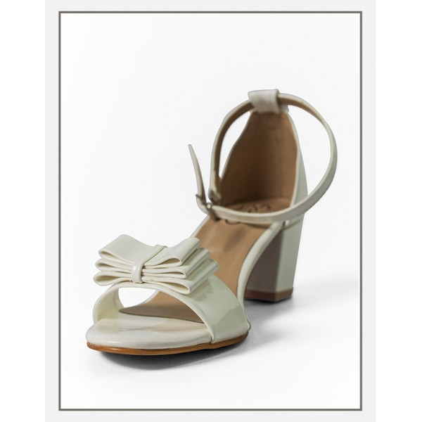 """The """"ADINA"""" White Heels With Bow Sandal"""