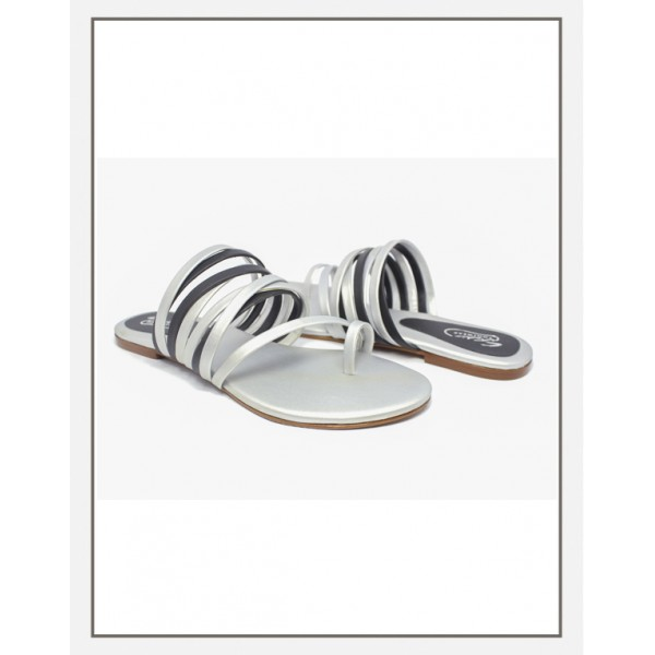 """ASHLEY"" SILVER WOMEN TWO TONE SLIPPERS"