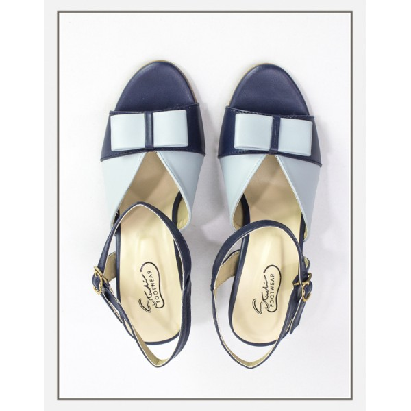 """EMMA"" Blue Heels With Bow Upper Sandals"