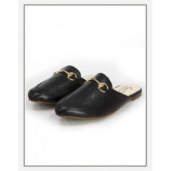 """EMBER"" Black Flat Mid Loafers For Women"