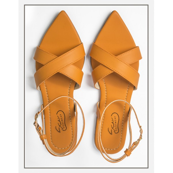 """Junia"" Pointed Toe Sandal in Orange"