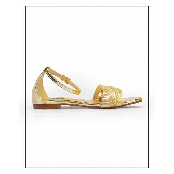 "KOKO KIDS ""LAYLA"" GOLDEN SANDALS WITH SHINNY UPPER  FOR GIRLS BY STUDIO FOOTWEAR"