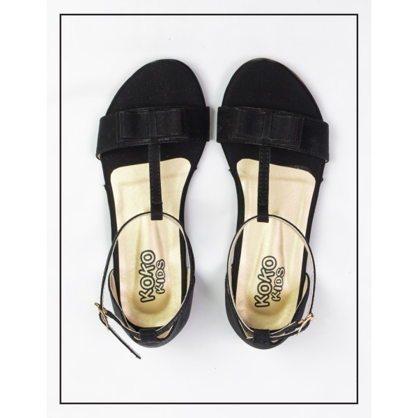 """KOKO KIDS """"PENNY"""" BLACK SANDALS WITH BOW UPPER  FOR GIRLS BY STUDIO FOOTWEAR"""