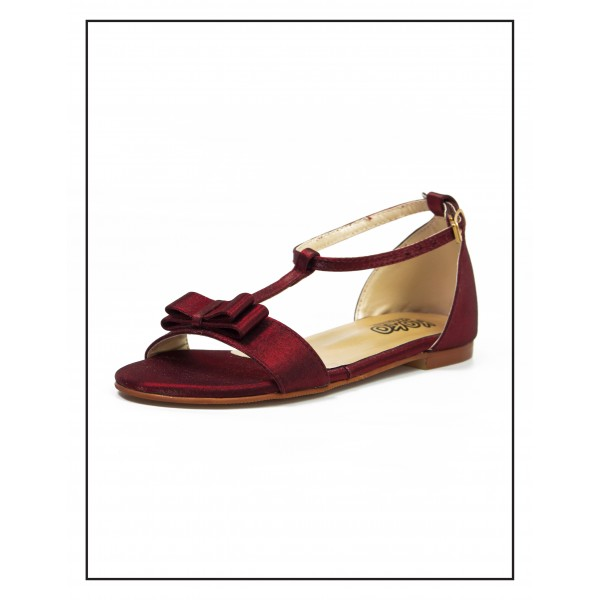 """KOKO KIDS """"PENNY"""" MAROON SANDALS WITH BOW UPPER  FOR GIRLS BY STUDIO FOOTWEAR"""