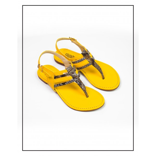 "KOKO KIDS ""VALERIA"" YELLOW CROC SANDALS ..."