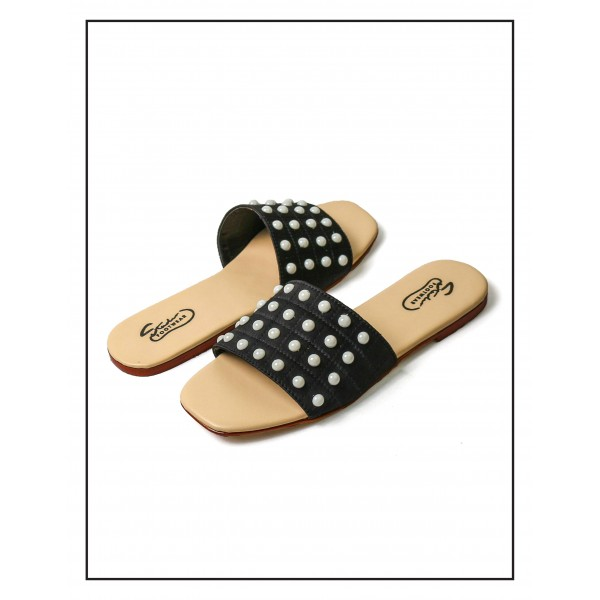 """""""Lesli"""" BLACK COMFORTABLE SLIPPERS WITH ..."""