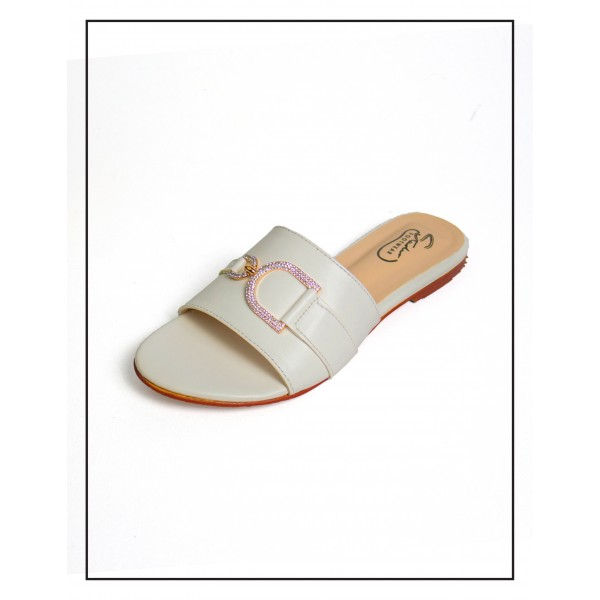 """""""Magnolia"""" White D Stud Upper With Comfortable Sole By Studio Footwear"""