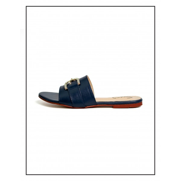 """""""Magnolia"""" Blue D Stud Upper With Comfortable Sole By Studio Footwear"""
