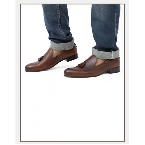 Tessel Crust Leather Brown Shoes Without Welt (Goal Dhap)