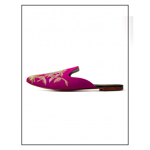 """""""AREEL"""" PURPLE & SILVER MULES WITH EMBROIDARY UPPER FOR WOMEN BY STUDIO FOOTWEAR"""