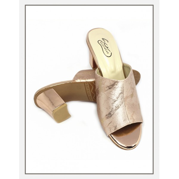 """""""AREEN"""" Gold Heels With Shinny Upper Slipper"""