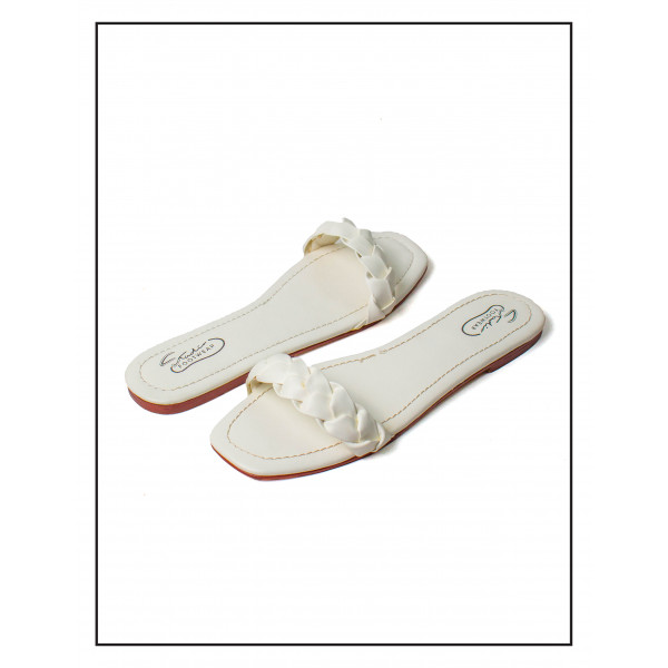"""""""ASH"""" White WOMEN SLIPPERS WITH KNOTTED ..."""