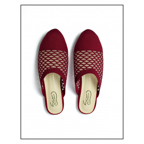 """""""AURORA"""" MAROON FLAT MULES WITH SOFT UPPER FOR WOMEN BY STUDIO FOOTWEAR"""
