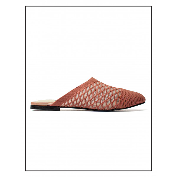"""""""AURORA"""" FAWN FLAT MULES WITH SOFT UPPER FOR WOMEN BY STUDIO FOOTWEAR"""