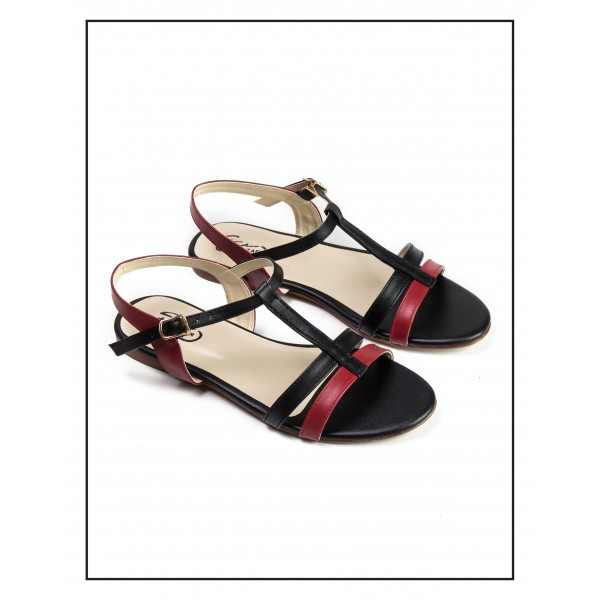 """CATALINA"" BLACK OPEN TOE CROSS ANKLE ST..."