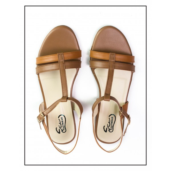 """""""CATALINA"""" BROWN OPEN TOE CROSS ANKLE STRAP SANDALS WOMEN"""