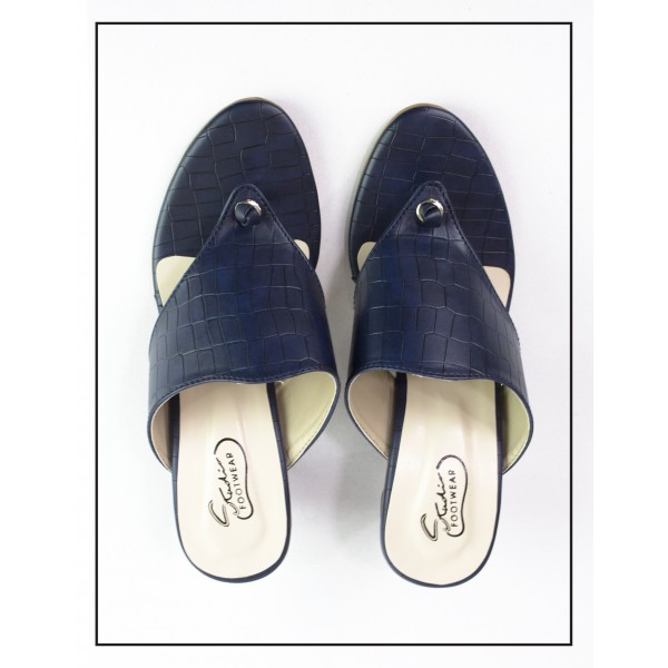 """Haven"" Blue Croc Style Heel Slippers Fo..."