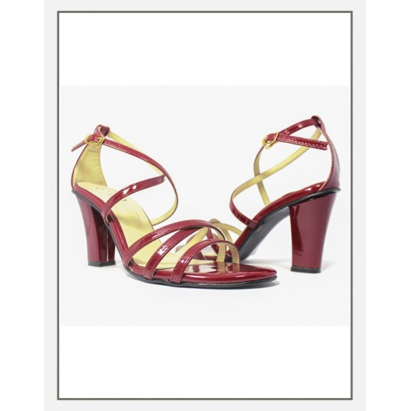 """JANNET"" MAROON WOMEN  BLOCK HEEL SANDALS"