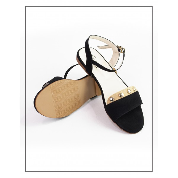 """Lydia"" BLACK COMFORTABLE SANDALS"