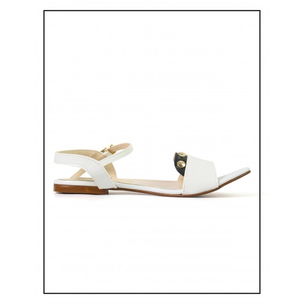 """""""Lydia"""" WHITE COMFORTABLE SANDALS"""