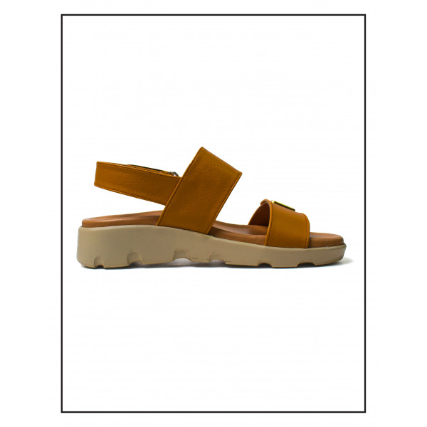 """""""Lyna"""" Brown Heels With PU Wedge Sole Italian Finish Sandals For Women"""