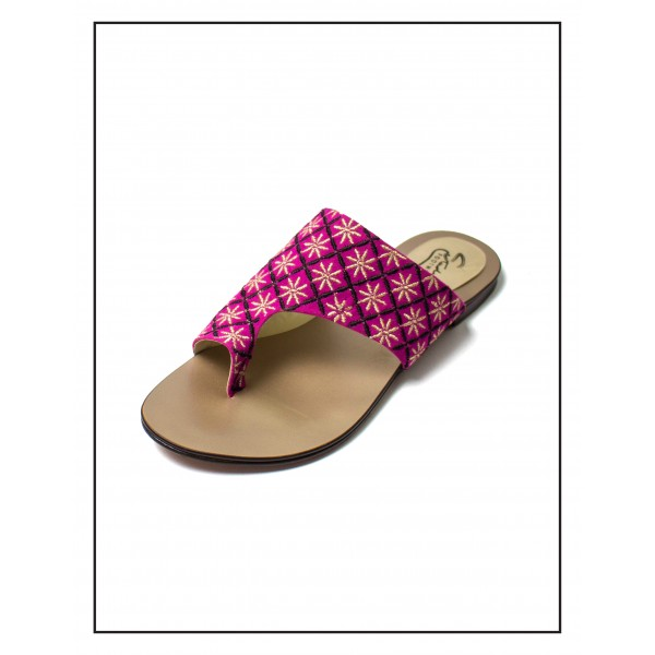 """""""Najwa"""" Magenta With Gold Flower Embroidery Upper With Double Sheet Sole By Studio Footwear"""