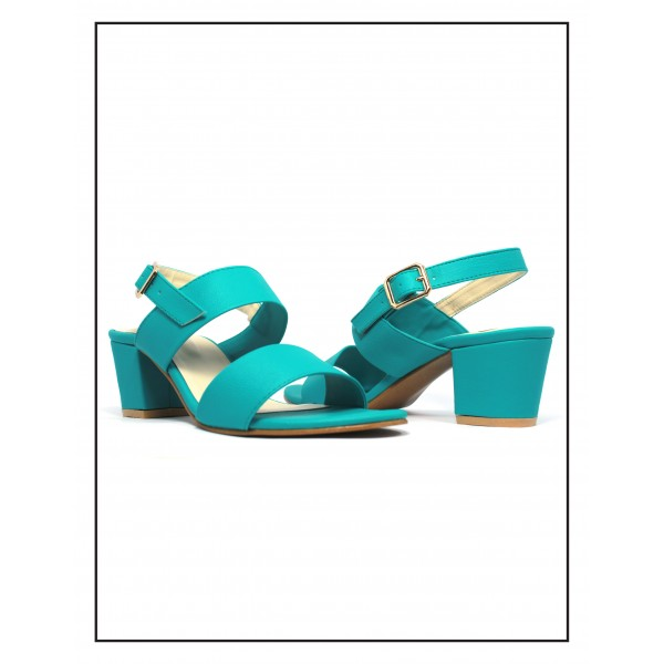 """Rosa"" Teal Block Heels With Sandal"