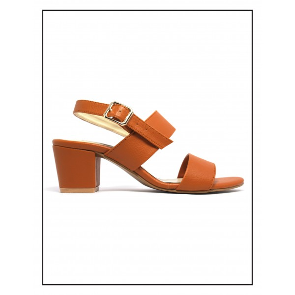 """Rosa"" Dark Orange Block Heels With Sandal"