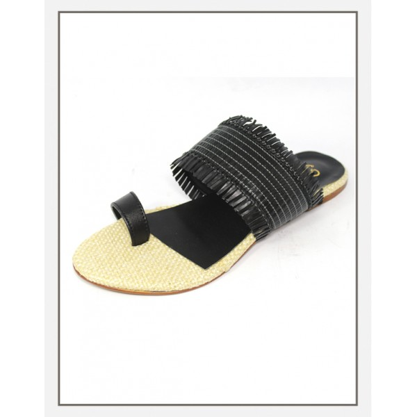 """Stile"" Kolpuri Black Jute Slippers For Women"