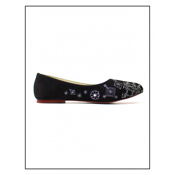 """""""ZEBRA"""" BLACK PUMPIES WITH EMBROIDARY UPPER FOR WOMEN BY STUDIO FOOTWEAR"""