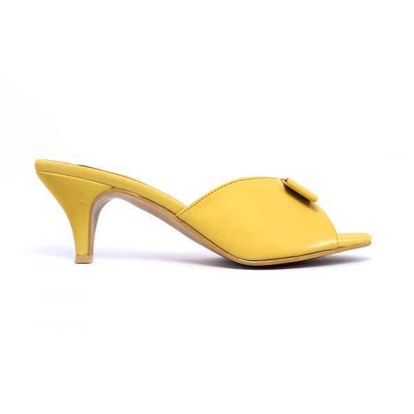 """""""ZOE"""" Mustard Heels With Bow Slippers For Women"""